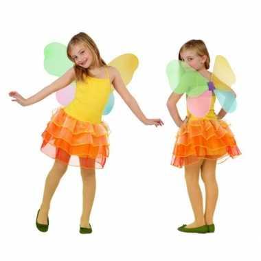 Carnaval  Vlinder jurkje meiden geel/oranje kostuum