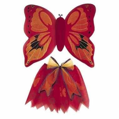Carnaval vlinder vleugels verkleed set rood kinderen kostuum