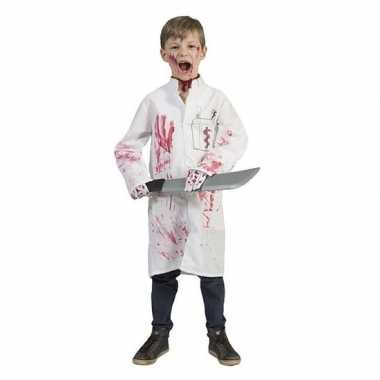 Carnaval witte doktersjas bloed jongens kostuum