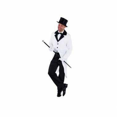 Carnaval  Witte lange jas kostuum