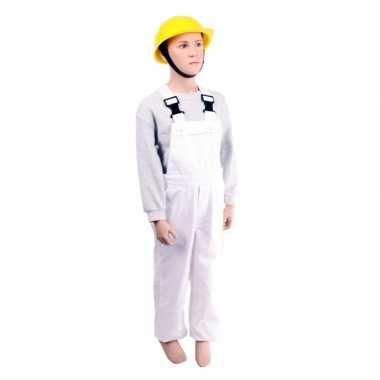 Carnaval  Witte tuinbroek kinderen kostuum