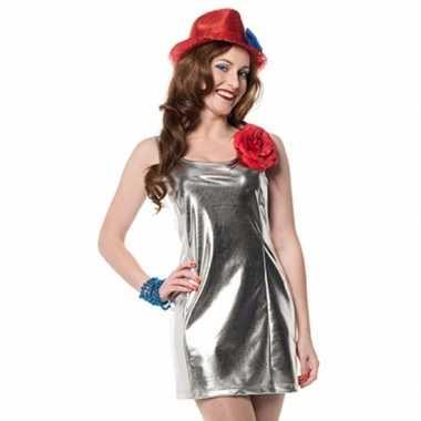 Carnaval  Zilveren dames jurkjes disco stijl kostuum