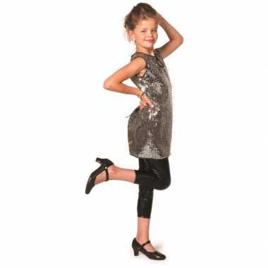 Carnaval  Zilveren glitter jurk meiden kostuum