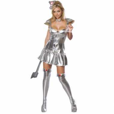 Carnaval  Zilveren tinnen kostuum vrouw