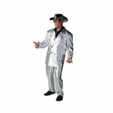 Carnaval zilveren verkleed kostuum