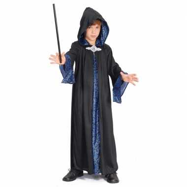 Carnaval  Zwart blauwe tovenaars mantel kids kostuum