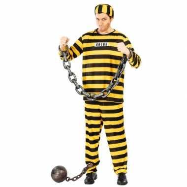 Carnaval  Zwart/geel gevangene kostuum