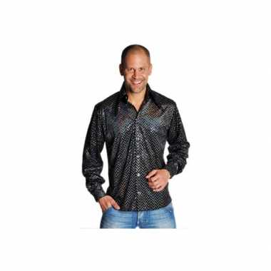 Carnaval  Zwarte disco overhemden heren kostuum