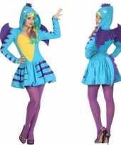 Carnaval feest blauwe draak verkleed pak dames