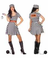 Carnaval feest boeven gevangenen bonnie verkleedpak jurkje dames