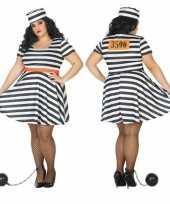 Grote maten carnaval feest boeven gevangenen bonnie verkleedpak jurkje dames