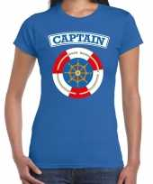 Kapitein captain verkleed t-shirt blauw dames