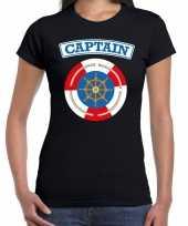 Kapitein captain verkleed t-shirt zwart dames