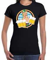 Oktoberfest bierfeest drank fun t-shirt pak zwart beierse kleuren dames