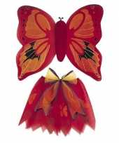 Vlinder vleugels verkleed set rood kinderen